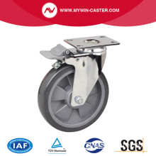 Chrome 6 Inch 130Kg Plate Brake PU Caster