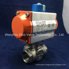 OEM Stainless Steel Pneumatic 3-Way Ball Valve with Actuator