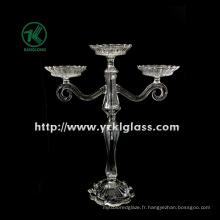Porte-bougies en verre pour la décoration de fête avec trois messages (10.5 * 26 * 32.5)