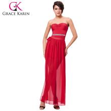 Grace Karin Sexy Occident Wome's Vestido corto sin tirantes rojo corto con pierna abierta CL008942-1