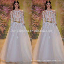 Sexy Sheer Top A-Line Wedding Dress 2014 O-Neck Long Sleeve Full-length Tulle Made Lace Applique Bridal Gown NB0627