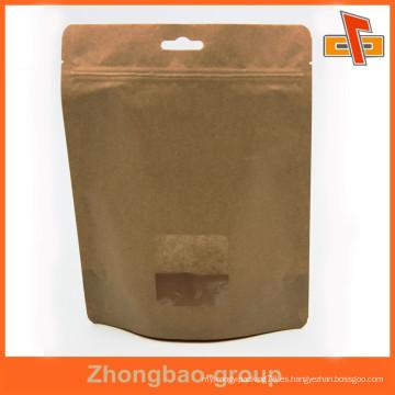OEM material laminado personalizado stand up bolsa de papel kraft con ventana para alimentos secos