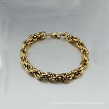 Pulseira de latão cubano de aço inoxidável de alta qualidade, designer mens pulseiras jóias