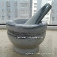Morteros de piedra de mármol y pilones Fabricante de China Tamaño 14X10cm