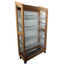 Supermaket Merchandising Metal Basket Holder Floorstanding Snack Food Candy Wood Display Shelves