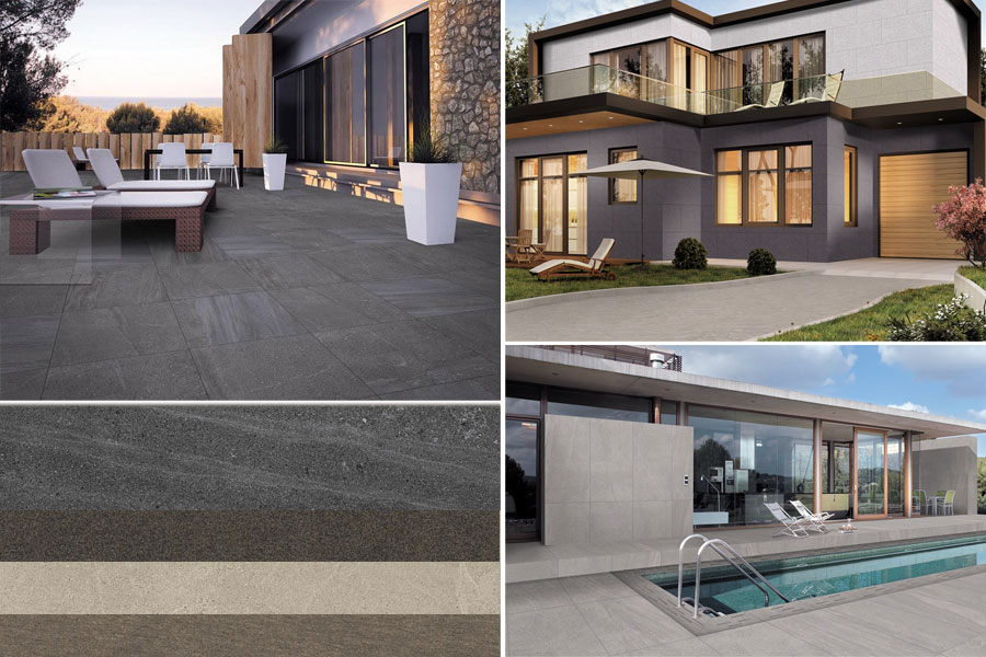 Porcelain concrete exterior floor tiles