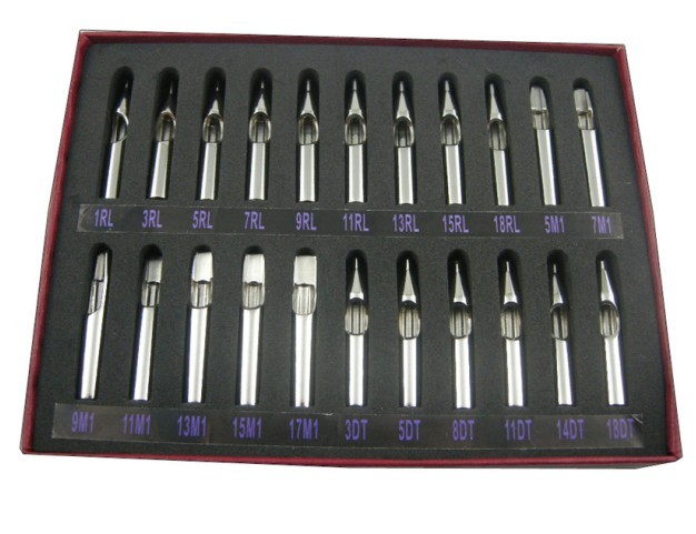 New Stainless Steel Open Flat Long Tattoo Tips Tubes Kit