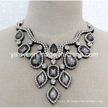 Lady Fashion Grau Perlen Glas Kristall Anhänger Kragen Halskette (JE0200)