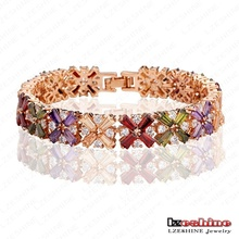 Women Gold Inlaid Zircon Wedding Bridal Bracelets (CBR0011-C)