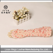 Female Long summer sun protection gloves lace and florals