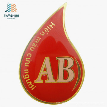 Custom Logo Metal Craft Red Enamel Epoxy Name Badge Pin for Promotion