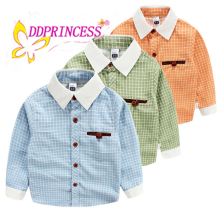 China wholesales boy plaid shirt kids' check shirt long sleeve cotton t shirt