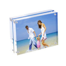 Freestanding Double Sided 20mm Thickness Frameless Magnetic Custom 4x6 Photo Picture Clear Acrylic Frames