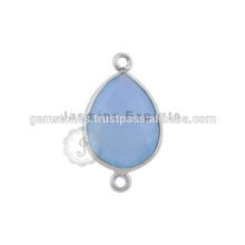 925 Sterling Silver Bezel Connectors Connecteurs de lunette gemme
