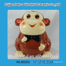 Tarro de cerámica lindo de la galleta con diseño divertido del mono