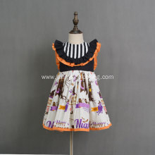Orange pumpkin digital print girls halloween dress