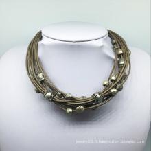 Collier de perles en alliage de fil de cuir (XJW13771)