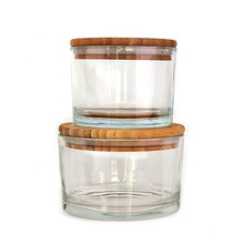 500ml 750ml Safe Stackable clear round Glass yogurt Bowl glass Salad Bowl with bamboo wooden lid