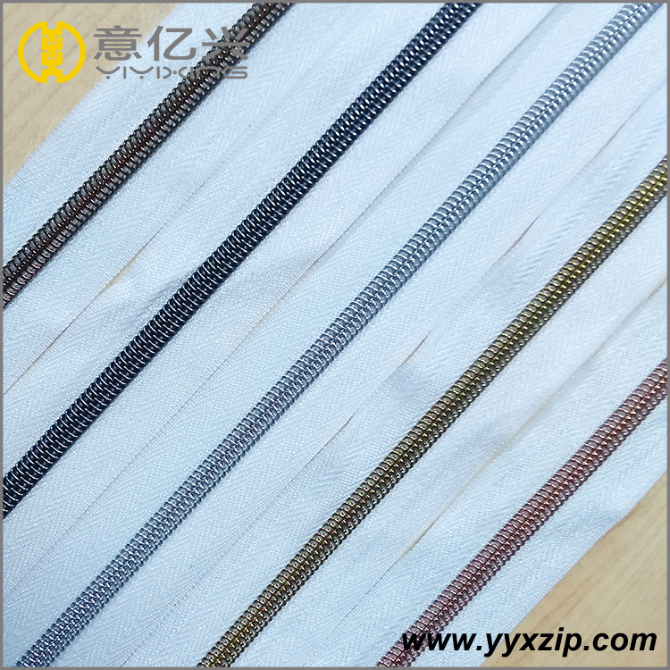 Metallic plating nylon chain white coil zipper