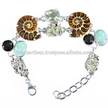 Bracelet en argent sterling 925 en amonite et multi pierres
