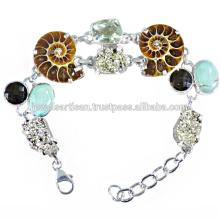 Latest Design Ammonite And Multi Gemstone 925 Sterling Silver Bracelet