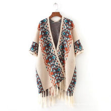 Sombra de cachemir para mujer sintética tejida jacquard impresión de lujo cabo robó poncho chal (SP617)