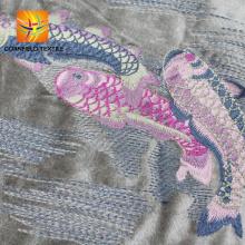 tela de terciopelo bordado de encaje de alta calidad para el vestido