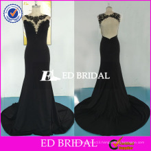 ED Bridal Sexy Backless Sleeveless Mermaid Long Black Lace Appliques Floor Length Jersey Party Dress