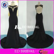 ED Bridal Sexy Backless Sem Manga Mermaid Long Black Lace Appliques Andar Comprimento Jersey Party Dress