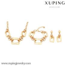 63725 Xuping 18k plateado pulsera y pendiente collar de regalo conjuntos sin piedra