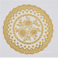 Mantel redondo del PVC de los 16cm con café / boda populares del cordón del oro