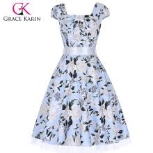 Grace Karin Cap manga cuello cuadrado retro vestidos de algodón de verano Vintage CL4598-9