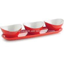 Ensemble de collation rouge en céramique avec base pour BS12095B