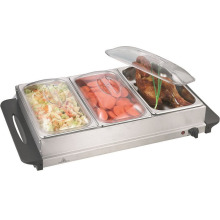 Acero inoxidable Tres sartenes 2.5L Buffet Warmer