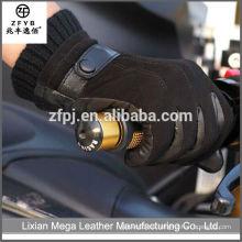 Venta caliente de alta calidad de bajo precio de cuero negro motocicleta de conducción guantes de cuero hombres