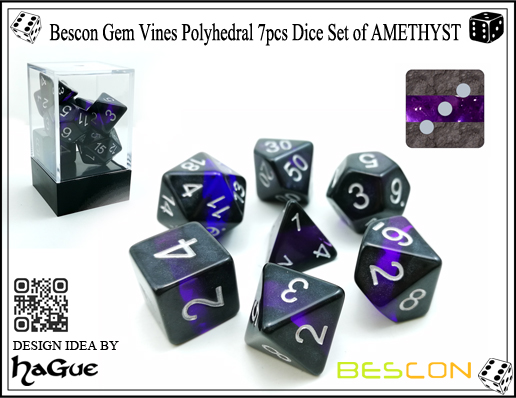 Bescon Gem Vines Polyhedral 7pcs Dice Set of AMETHYST-1