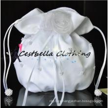 Bolsos hechos a mano blancos hermosos bolsos nupciales del satén de la flor bolsos nupciales indios handcraft el bolso cristalino bling