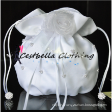 Белый ручной работы сумки красивый цветок свадебные атласные сумочки индийский свадебный сумки ручной работы bling кристалл сумочка