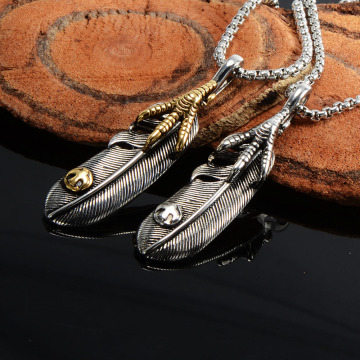 Animal Design Eagle Claw Feather Hängsmycke Halsband