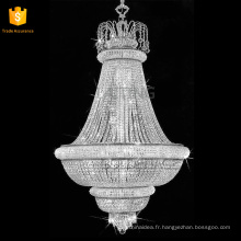 Lustre en cristal de luxe accrochant lustre / lampes pendantes grande lumière chrome moderne