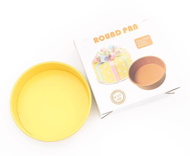 10' Carbon Steel Non-Stick Round Cake Pan With Removable Bottom -Yellow (10)