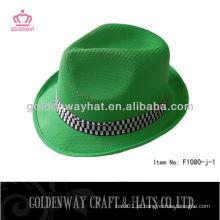Chapéus de fedora de poliéster PP verdes mais baratos com chapéus promocionais personalizados de logotipo
