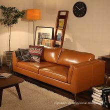 Sofá de cuero de estilo japonés y sala de estar moderna