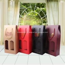 Promocionais garrafas duplas laminado sacos de papel dobrável