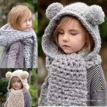Kids Baby Unisex Children Boys Girls 2PC Winter Cable Twist Beanie Scarf Hat Set Scarf (SK411)