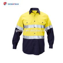Chine Nouvelles chemises de travail de foret de coton hi vis longues chemises de travail industrielles de douille et uniforme avec la bande 3M refletive