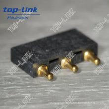 Латунный прямой разъем Pogo Pin с пружинной нагрузкой, 3 контакта