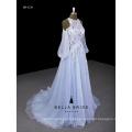 Vestido de casamento azul bebê vestido de assoalho 2017 vestido de noiva de renda nova chegada