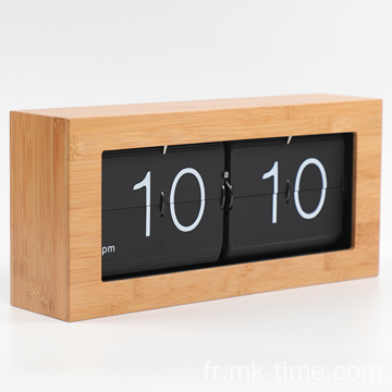 Big Box Flip Down Clock Matériel en bambou