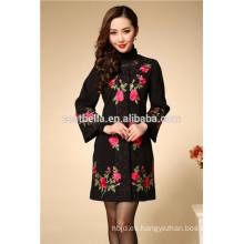 Chaqueta de mujer de diseño de estilo largo impreso mujer moda abrigos china trench coat clásico